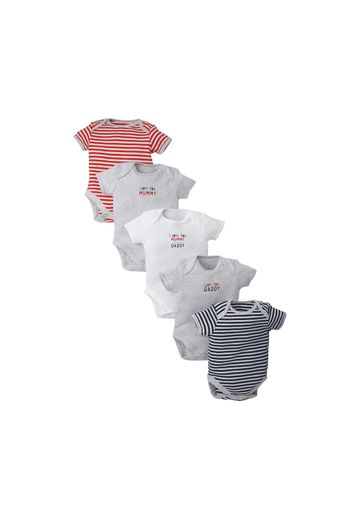 Mothercare | Unisex Half Sleeves Bodysuit Striped - Pack Of 5 - Multicolor