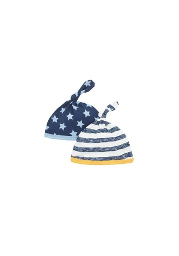 Mothercare   Boys Top-Knot Hat Striped And Star Print - Pack Of 2 - Navy