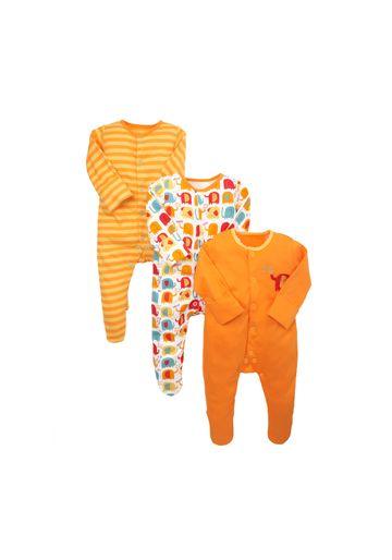 Mothercare | Unisex Full Sleeves Sleepsuit Striped And Elephant Print - Pack Of 3 - Orange