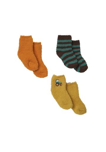 Mothercare | Boys  Fleece Socks Striped And Embroidered - Pack Of 3 - Multicolor