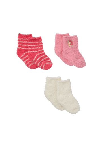 Mothercare | Girls  Fleece Socks Striped And Embroidered - Pack Of 3 - Multicolor