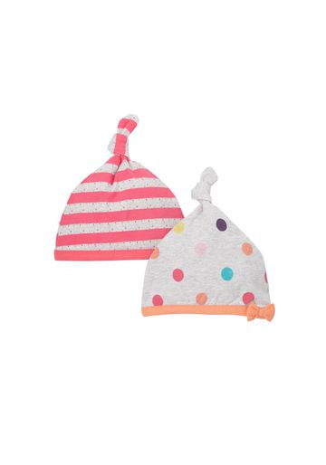 Mothercare | Girls Top-Knot Hat Striped And Printed - Pack Of 2 - Pink