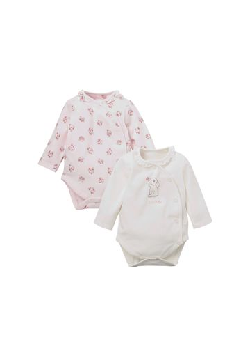 Mothercare | Girls Full Sleeves Bodysuit Floral Print - Pack Of 2 - Pink