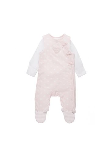 Mothercare | Girls Full Sleeves Wadded Dungaree Set Heart Patchwork - Pink