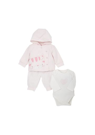 Mothercare | Girls Full Sleeves 3 Piece Jog Set Cat Embroidery - Pink