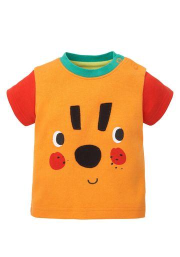 Mothercare | Boys Half Sleeves T-Shirt Tiger Print - Orange