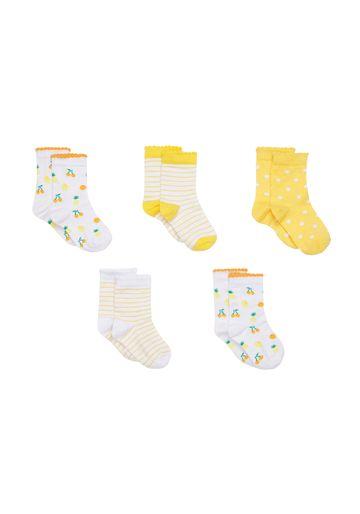Mothercare | Girls  Socks Fruit Print - Pack Of 5 - Yellow
