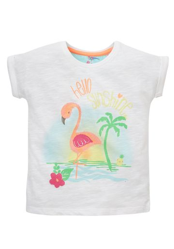 Mothercare   Girls Half Sleeves T-Shirt Flamingo Print - White