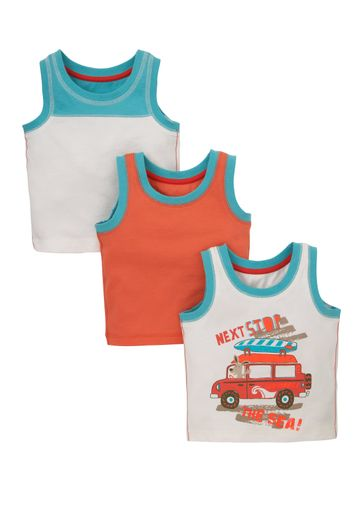 Mothercare | Multicolor Boys Next Stop The Sea Vest Tops - Pack Of 3