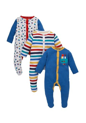 Mothercare | Boys Full Sleeves Sleepsuit Striped And Vehicle Print - Pack Of 3 - Multicolor