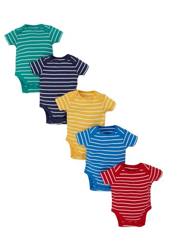 Mothercare | Boys Half Sleeves Bodysuit Striped - Pack Of 5 - Multicolor