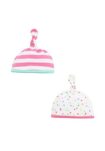 Mothercare | Girls Top-Knot Hat Stripe And Spot Print - Pack Of 2 - Pink