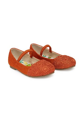 Mothercare | Girls Broderie Shoes - Orange