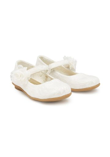 Mothercare | Girls Lace Shoes Flower Detail - Cream
