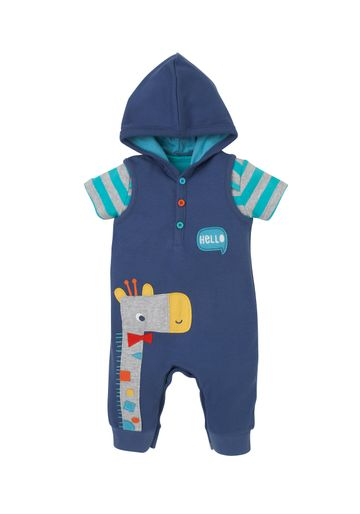 Mothercare | Boys Half Sleeves Hooded Dungaree Set Giraffe Patchwork - Navy