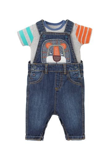 Mothercare | Boys Half Sleeves Bodysuit And Dungaree Set Lion Patchwork - Blue