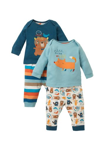 Mothercare | Boys Full Sleeves Pyjama Set Bear And Fox Patchwork - Pack Of 2 - Multicolor