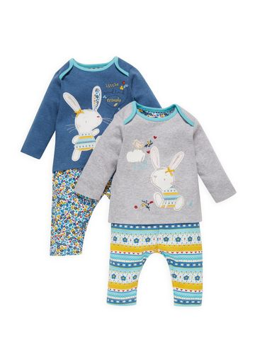 Mothercare | Girls Full Sleeves Pyjama Set Bunny Patchwork - Pack Of 2 - Navy