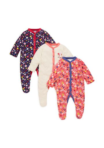 Mothercare | Girls Full Sleeves Sleepsuit Floral Print - Pack Of 3 - Multicolor
