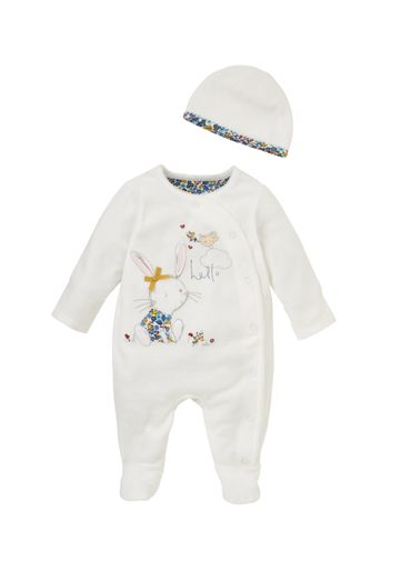 Mothercare | Girls Full Sleeves Romper With Hat Bunny Patchwork - Cream