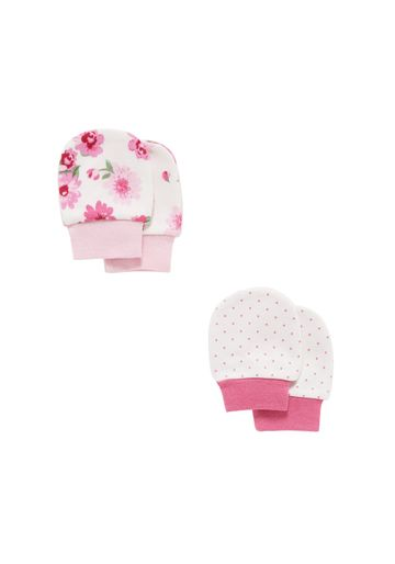 Mothercare | Girls  Mitts Floral Print - Pack Of 2 - White