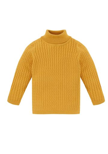 Mothercare   Girls Full Sleeves Roll Neck Sweater Cable Knit - Yellow