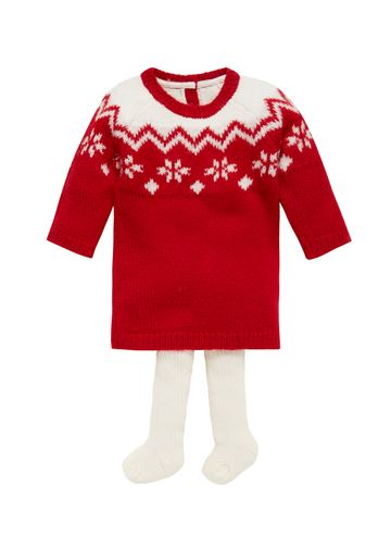 Mothercare | Girls Fairisle Dress With Tights  - Red