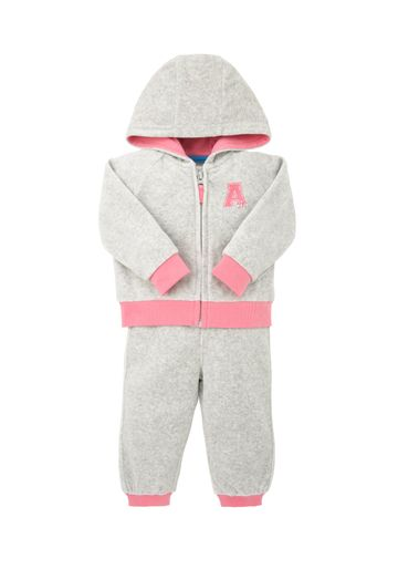 Mothercare | Girls Full Sleeves Velour Top And Jogger Set Glitter Print - Grey