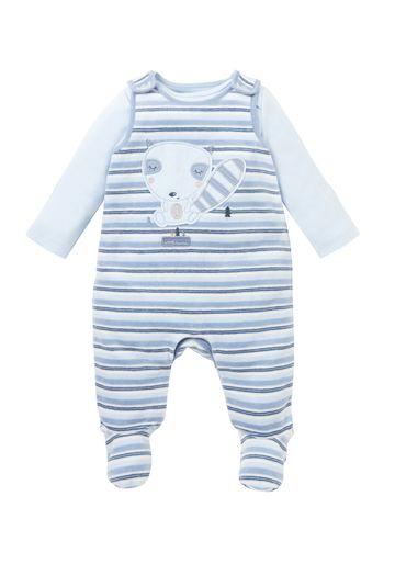 Mothercare | Boys Full Sleeves Striped Dungaree Set Animal Patchwork - Blue