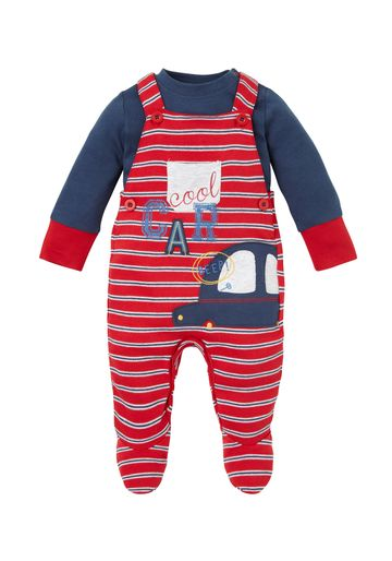 Mothercare | Boys Full Sleeves Dungaree Set Car Embroidery - Red