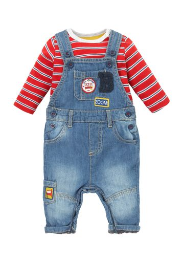 Mothercare | Boys Full Sleeves Denim Dungaree Set Patchwork - Blue