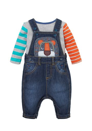 Mothercare | Boys Full Sleeves Dungaree Set Lion Patchwork - Blue
