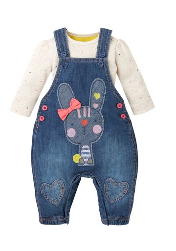 Mothercare | Girls Full Sleeves Denim Dungaree Set Bunny Embroidery - Blue