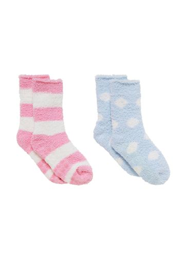 Mothercare | Girls  Fluffy Socks Striped - Pack Of 2 - Multicolor