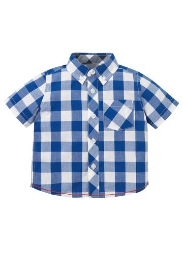 Mothercare | Boys Half Sleeves Check Shirt With Pocket - Blue