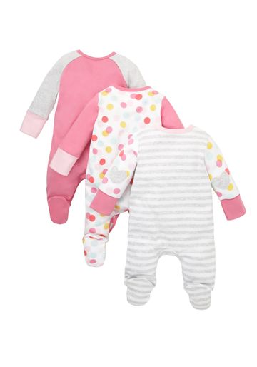 Mothercare   Girls Cat Sleepsuits - Pack Of 3 - Multicolor