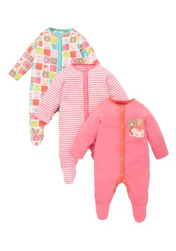 Mothercare | Girls Colourblock Sleepsuits - Pack Of 3 - Multicolor