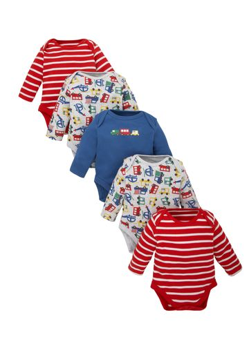 Mothercare   Boys Full Sleeves Bodysuit Striped And Vehicle Print - Pack Of 5 - Multicolor