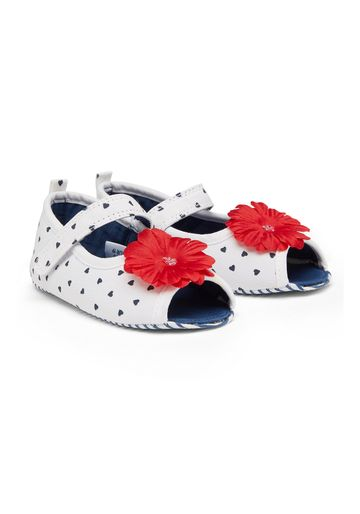 Mothercare | Girls Flower Peep Toe Sandals - White