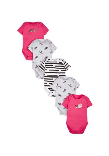Mothercare   Girls Zebra Bodysuits - Pack Of 5 - Pink