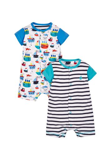 Mothercare | Boys Half Sleeves Boat Print Romper - Pack Of 2 - Multicolor