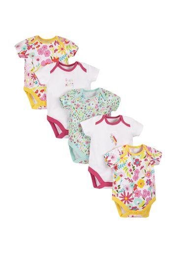 Mothercare | Girls Half Sleeves Floral Print Bodysuit - Pack Of 5 - Multicolor