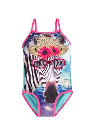 Mothercare | Blue Girls Photographic Zebra Swimsuit