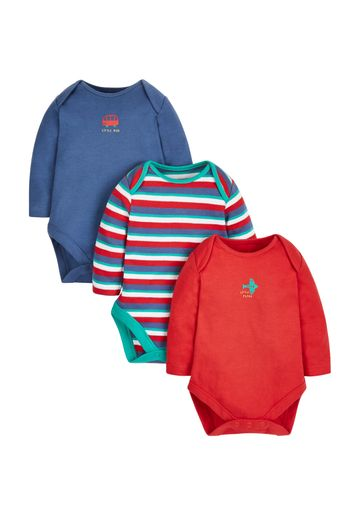 Mothercare   Boys Full Sleeves Bodysuit Vehicle Print - Pack Of 3 - Multicolor