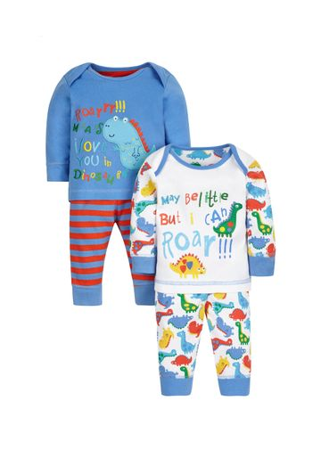 Mothercare | Boys Full Sleeves Pyjama Set Dino Embroidery - Pack Of 2 - Blue