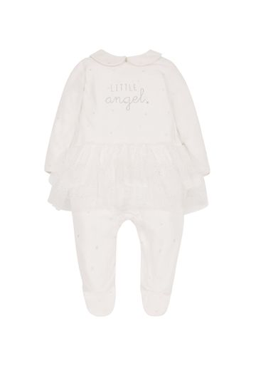 Mothercare | Girls Full Sleeves Frock Style Romper Text Print - Cream