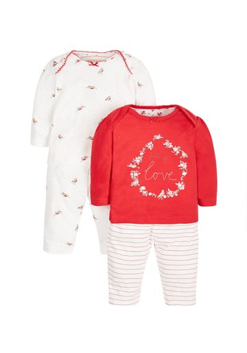 Mothercare   Girls Full Sleeves Pyjama Set Embroidered - Pack Of 2 - Red