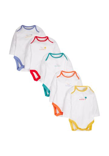 Mothercare | Unisex Mood Bodysuits - Pack Of 5 - White