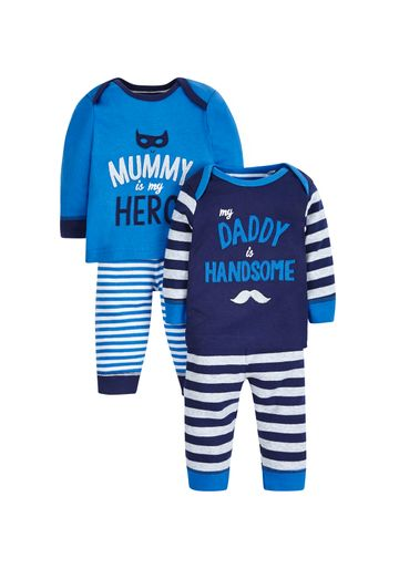 Mothercare | Boys Full Sleeves Pyjama Set Striped And Text Print - Pack Of 2 - Blue