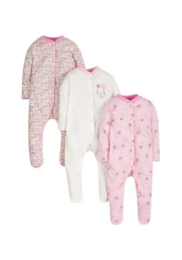 Mothercare   Girls Full Sleeves Sleepsuits - Pack of 3 - Multicolor